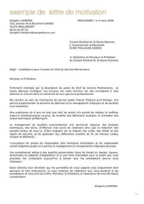 lettre de motivation moderne exemple de lettre de motivation promotion interne 2016 lettres de motivation