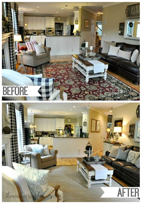 before and after room makeovers coastal cottage family room makeover