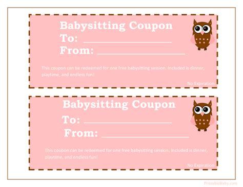 printable babysitting coupons  baby sitting voucher
