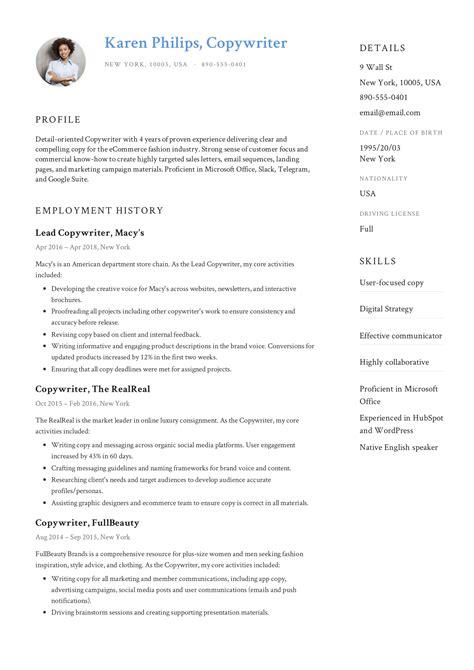 Copywriter Resumes by Guide 12 Different Copywriter Resume Sles 2019 Pdf