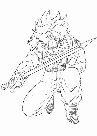 Trunks Coloring Pages Future Dbz Lineart Ssj