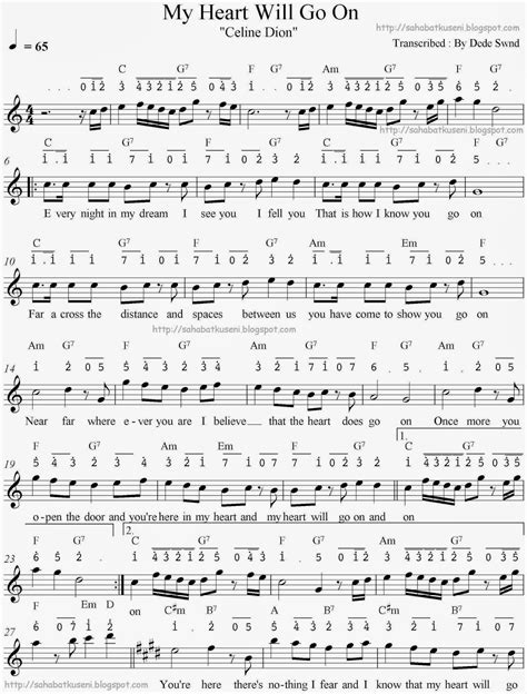 partitur lagu indonesia raya 4 suara not balok not angka juga lirik chord my will go on sahabatku seni