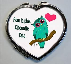 Cadeau Fete Des Meres Pas Cher : miroir de poche chouette et coeur forme coeur pour la plus chouette tata modele 2 ~ Teatrodelosmanantiales.com Idées de Décoration