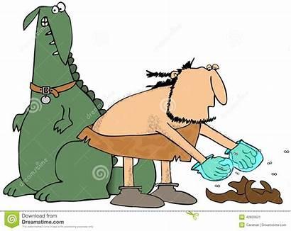Poo Picking Caveman Pet Illustration Pick Dinosaur