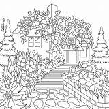 Coloring Cottage Pages Colouring Therapy Printable Sheets Adults Floral Adult Mandala Clipart Christmas Door Paris Para Mandalas Getcolorings Books Pretty sketch template