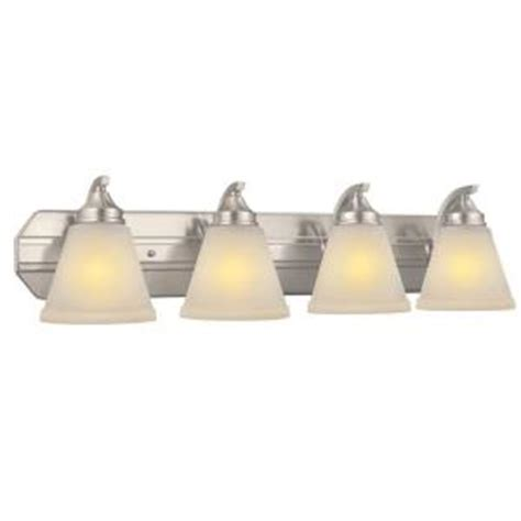 bathroom light fixtures at home depot hton bay 4 light brushed nickel bath light hb2077 35