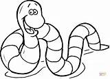 Coloring Earthworm Pages Cartoon Printable Drawing sketch template