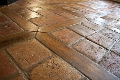 antique reclaimed french terracotta oak floor inlay mediterranean kitchen other metro by