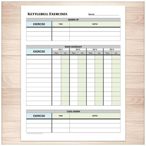 printable exercises sheet kettlebell cool warm planning log down daily