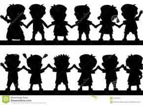 Children Holding Hands Silhouette Clip Art