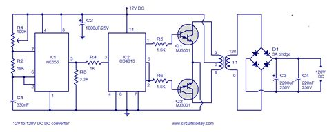 12 Volt Dc Wiring Diagram by 12v To 120v Dc Dc Converter Circuit Diagram World