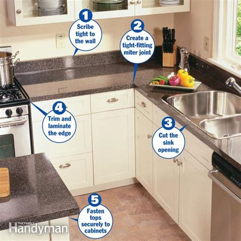 tools needed to install kitchen cabinets how to install a countertop the family handyman