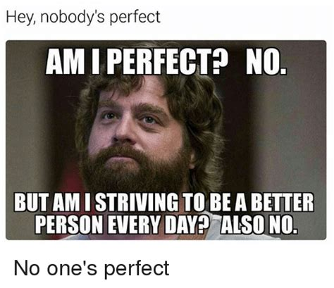 Perfect Meme - hey nobody s perfect amiperfect no but amistriving to be abetter person every day2 also no no