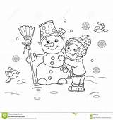 Snowman Winter Outline Coloring Cartoon Boy Preview Happy Making sketch template
