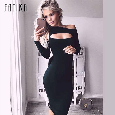 Fatika 2017 Spring Autumn Dresses One Shoulder Long Sleeve