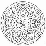 Medallion Coloring Pages Line Flower Printable Silhouette Adults Celtic sketch template