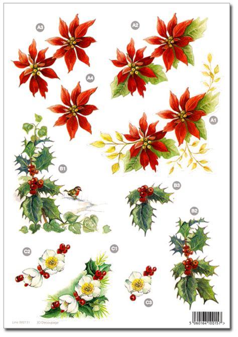 die cut  christmas decoupage poinsettia holly berries