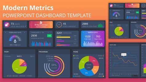 modern metrics powerpoint template dashboard
