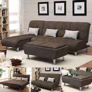 brown microfiber 3 pc sectional sofa futon couch chaise With 3 pc sectional storage sofa bed with chaise and ottoman