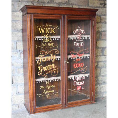 glass storage andy thornton antique signwritten mahogany cabinet antique furniture