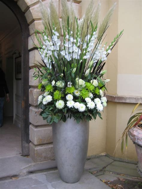 large vertical arrangement  white gladiola steel