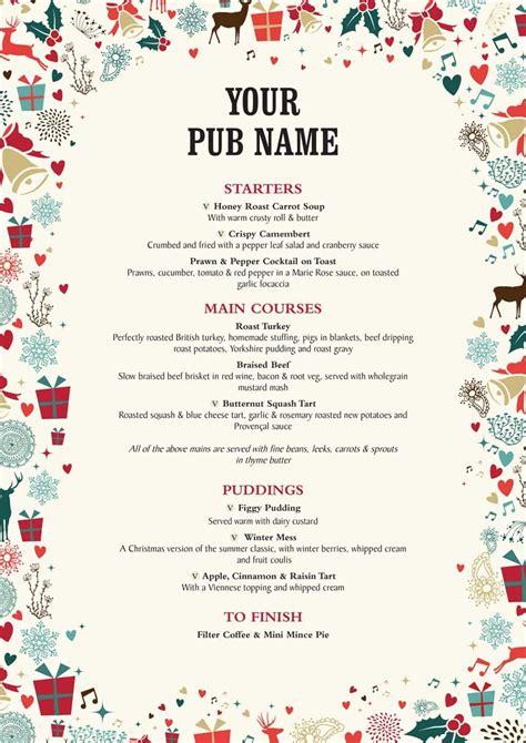 christmas menu christmas menu template best template idea