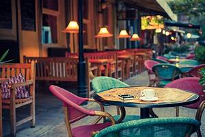 Lamp tables old fashioned street cafe terrace chairs city ...