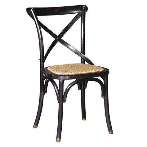 black noir x back rattan style seat dining room chair
