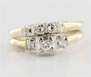 vintage 14 karat yellow white gold diamond wedding ring With used wedding rings