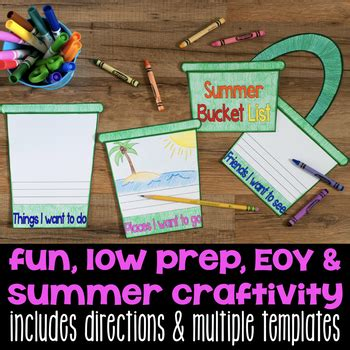 summer list flap book end of the year writing craftivity tpt