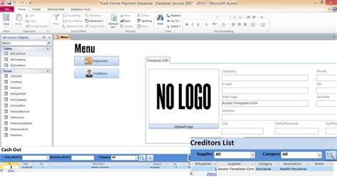 Create Resume Database Access by Access Database Templates Track Home Payment