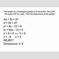 Problem Solving With Quadratic Equations Questions