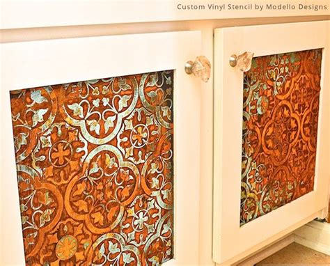 kitchen cabinet stencils hometalk how to stencil a rustic patina pattern on 2784
