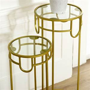 Pair, Of, Tall, Gold, Glass, Topped, Side, Tables