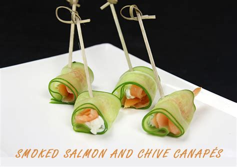 easy canapes to in advance smoked salmon and chive canapé