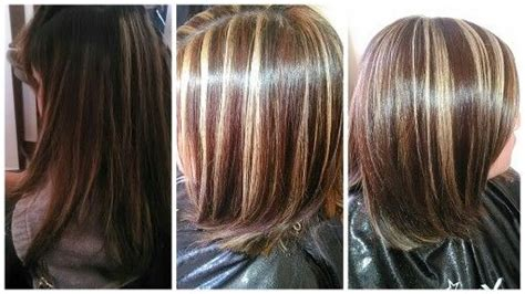 Before And After. Blonde And Dark Copper Highlights With A