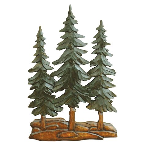 pine trees wood carving wall art cabin decor pinterest
