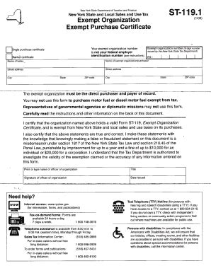 nys business tax forms 2009 2018 form ny dtf st 119 1 fill online printable