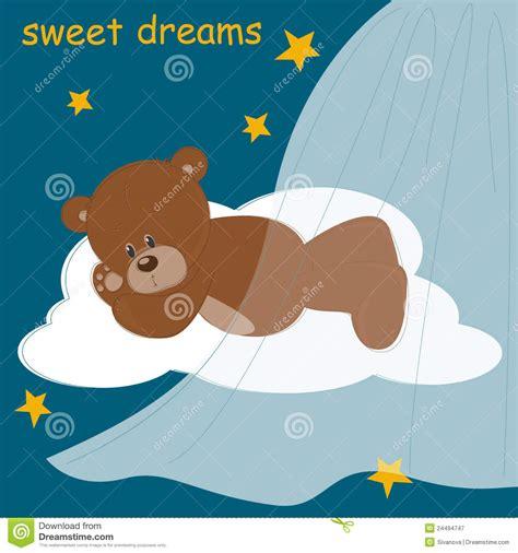 card  sleeping teddy bear royalty  stock
