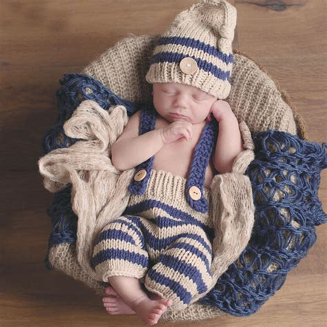newborn baby photography props blue striped crochet
