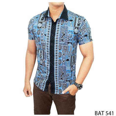 jual desain baju batik  pria katun kombinasi warna