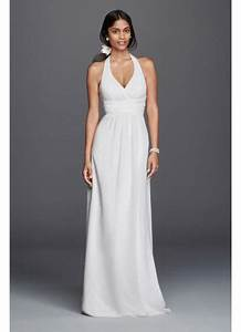 chiffon sheath halter wedding dress david39s bridal With halter sheath wedding dress