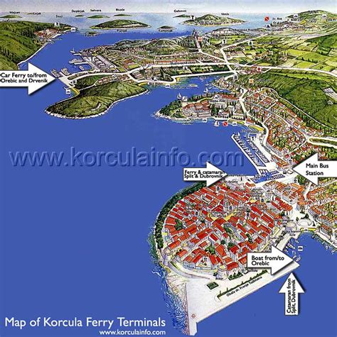Ferry Boat Orebic Korcula by Map Of Korcula Ferry And Boat Terminals Korculainfo
