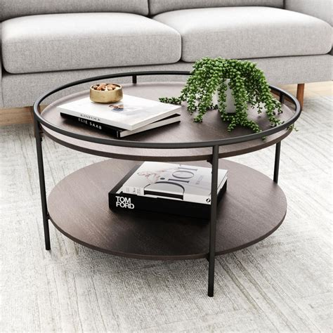 Received many very good recommendations from customers for functionality and neutral design. Nathan James Paloma Dark Oak and Black Circle Top Edge 2-Tier Round Cocktail Coffee Table with ...