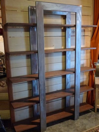 etagere metal et bois bibliotheque
