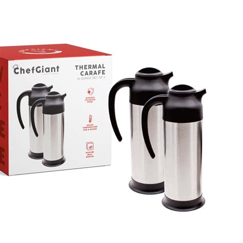 What's the best insulated thermos of 2021? ChefGiant Thermal Carafe Coffee Thermos 1 Liter/33 oz (Set of 2) Stainless Steel Vacuum ...