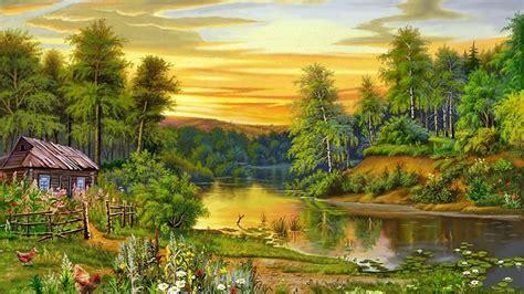beautiful landscape nature trees river house  wallpaperscom