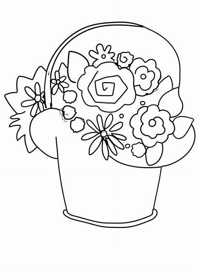 Coloring Basket Flower Flowers Pages Printable Clip