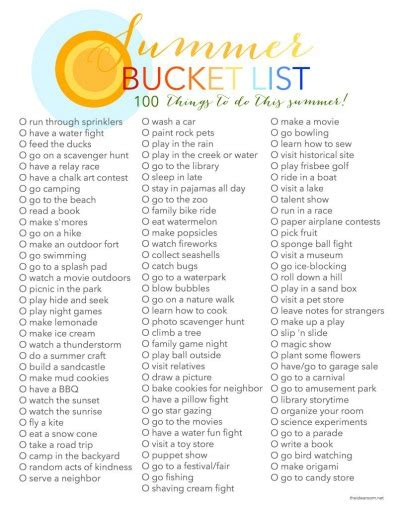 bucket list summer list 100 things to do in summer the idea room