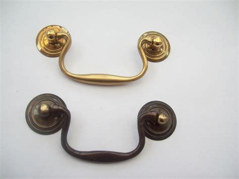 Cupboard Handles by Solid Brass Aged Cabinet Cupboard Drawer Drop Bar Swan